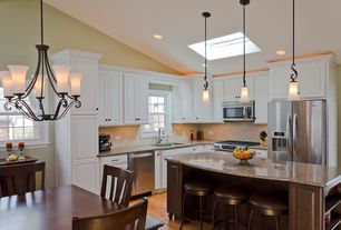 Traditional Kitchen with High ceiling, Chandelier, Breakfast nook, Simple granite counters, L-shaped, Stone Tile, Skylight
