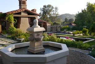 Mediterranean Landscape/Yard with Gazebo, exterior stone floors, Pond, Pathway, Bird bath, Fountain
