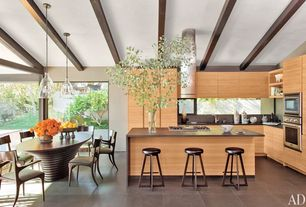 Contemporary Kitchen with European Cabinets, L-shaped, Pendant light, wall oven, Soapstone, slate tile floors, Island Hood