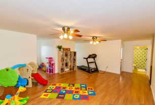 Traditional Playroom with Standard height, Ceiling fan, Hardwood floors