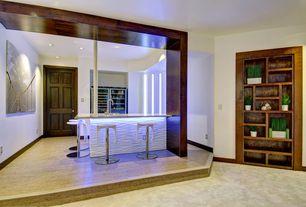 Contemporary Basement with Built-in bookshelf, Lechuza Windowsill Self-Watering Indoor Planter, Built-in wine cooler