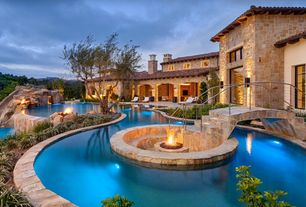 Mediterranean Swimming Pool with picture window, Other Pool Type, Raised beds, Pathway, exterior stone floors, Fire pit