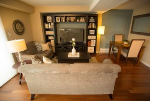 Contemporary Living Room with Hardwood floors, Pottery barn cameron upholstered roll arm love seat - performance velvet
