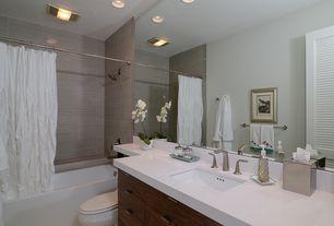 Modern Full Bathroom with Flush, can lights, Porcelain wall tile, Full Bath, Quartz counters, shower bath combo, Bathtub