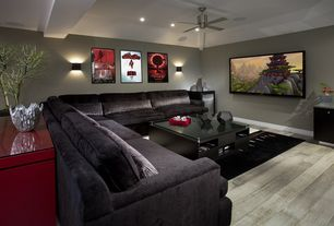 Contemporary Living Room with Standard height, Carpet, Paint, Area rug, Ceiling fan, Hokku Designs Zedd Console Table