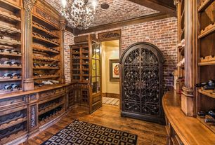 Mediterranean Wine Cellar with Hardwood floors, Abacasa Sonoma Beacon Area Rug (5 x 8 ft.), interior brick, Crown molding