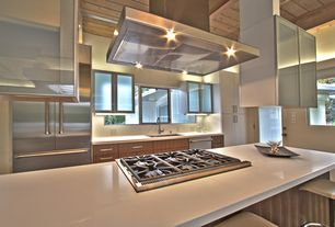 Contemporary Kitchen with Breakfast bar, Kitchen island, Undermount sink, Flush, French doors, One-wall, Corian counters