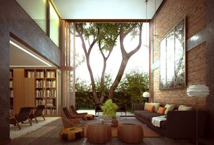 Modern Living Room with High ceiling, Pendant light, specialty door, Carpet, interior brick