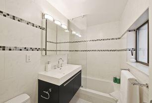 Contemporary Full Bathroom with European Cabinets, Arizona tile, CALACATTA COLORADO, marble, Undermount sink, Corian counters