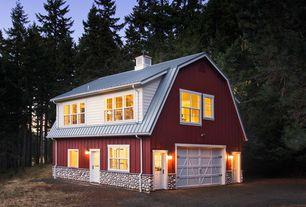 Country Exterior of Home with Half light door, Flush door, Single hung windows, Barn garage door, Glass panel door