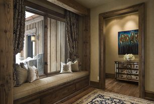 Eclectic Hallway with Paint, Copper half round highback gutter, Carlton 3-drawer mirrored accent chest, Exposed beam