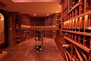 Traditional Wine Cellar with terracotta tile floors, can lights, Built-in bookshelf, Standard height