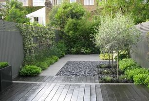 Modern Landscape/Yard with Fence, Raised beds, Pathway, Mexican Beach Pebbles, exterior stone floors, Gravel