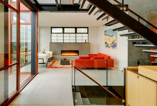 Modern Living Room with Carpet, Acrylic stair treads, Reclaimed timber slat coffee table, French doors, stone fireplace