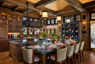 Rustic Kitchen with Ballard Designs Casa Florentina Piave Breakfront, Soapstone counters, French doors, Glass panel, Flush
