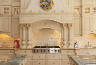 Traditional Kitchen with Flush, Paint, Limestone Tile, Glass panel, Classical, Undermount sink, Custom hood, High ceiling