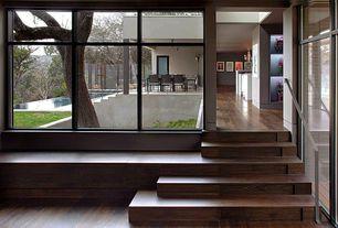 Modern Hallway with Hardwood floors, Walnut - Buck Horn 5 3/4 in. Engineered Hardwood Wide Plank, French doors
