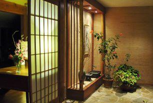 Asian Entryway with Grasscloth wallpaper 412-44139, slate floors, Built-in bookshelf, Shoji door, interior wallpaper, Columns
