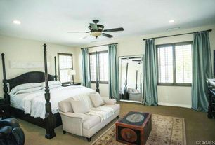 Traditional Master Bedroom with Ceiling fan, Half Price Drapes Yarn Dyed Faux Dupioni Silk Curtain Panel, Carpet