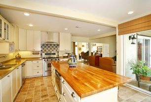 """Eclectic Kitchen with Large Ceramic Tile, Radiance Imperial Matchstick Bamboo Roll-Up Blind with 6"""" Valance in Fruitwood"""