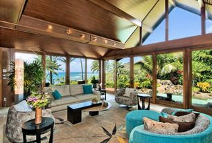 Modern Living Room with sliding glass door, Cathedral ceiling, Wood panel ceiling, Wood ceiling, Diamond head, oahu, hawaii