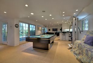 Modern Game Room with Carpet, French doors