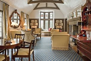 Eclectic Living Room with Exposed beam, Arteriors Home Oakley Mirror, Chinoiserie Secretary Desk, Carpet, Window seat