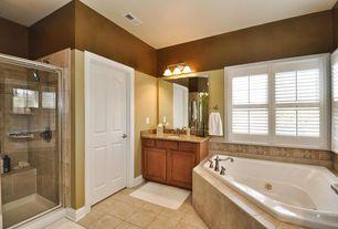 Modern Full Bathroom with Master bathroom, Jetted, Casement, framed showerdoor, Simple Granite, Standard height, flat door