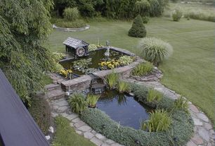 Country Landscape/Yard with exterior stone floors, Pond