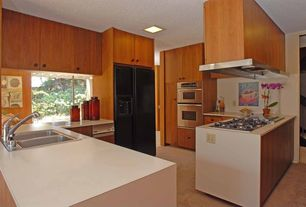 Modern Kitchen with Island Hood, double bowl drop-in sink, Laminate floors, Standard height, Flush, full backsplash, Skylight