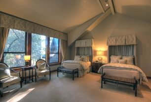 Traditional Guest Bedroom with High ceiling, Carpet