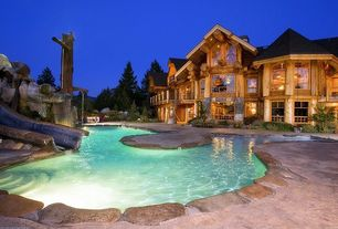 Rustic Swimming Pool with exterior stone floors, Other Pool Type, picture window, Casement, Glass panel door, Deck Railing