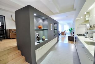 Contemporary Kitchen with European Cabinets, High ceiling, Undermount sink, flush light, Simple marble counters, Galley