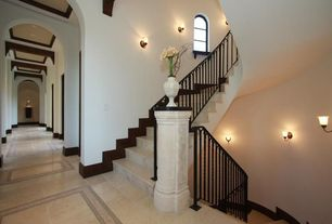 Mediterranean Hallway with can lights, simple marble floors, High ceiling, Exposed beam