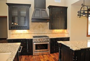 Eclectic Kitchen with Ms international bianco santiago granite, High ceiling, Herringbone Tile, One-wall, Chandelier