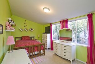 Eclectic Kids Bedroom with Casement, Carpet, flush light, Standard height