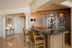 Traditional Bar with Wainscotting, Crown molding, Columns, Standard height, Laminate floors, six panel door, can lights