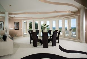Modern Dining Room with Columns, French doors, Carpet
