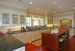 Traditional Kitchen with U-shaped, Breakfast bar, Brooks Custom Wide Plank Wood Countertops, Undermount sink, Glass panel