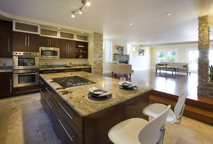 Contemporary Kitchen with Kitchen island, One-wall, European Cabinets, Complex Granite, Concrete tile , Flush, flush light