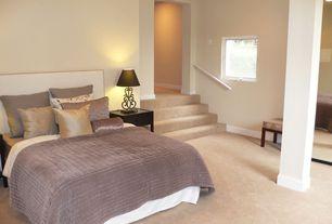 Modern Guest Bedroom with Columns, Carpet, Sauna