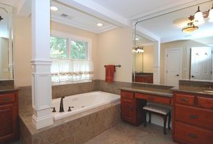 Traditional Full Bathroom with drop-in sink, Casement, can lights, Exposed beam, Framed Partial Panel, flat door, Columns