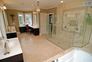 Modern Master Bathroom with Undermount sink, partial backsplash, Crown molding, Handheld showerhead, Simple marble counters