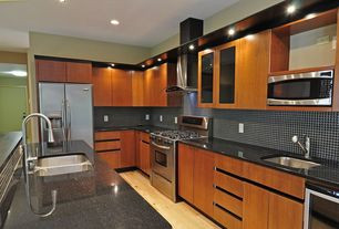 Contemporary Kitchen with Undermount sink, Glass Tile, L-shaped, High ceiling, European Cabinets, Hardwood floors, Flush
