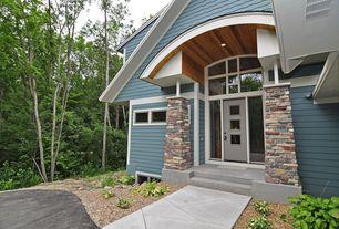 Craftsman Front Door with Casement, picture window, exterior stone floors, Transom window, Glass panel door