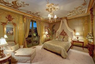 Traditional Guest Bedroom with Chandelier, Standard height, Mural, Carpet, Crown molding, French doors