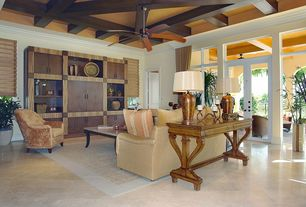 Eclectic Living Room with Crown molding, French doors, Exposed beam, High ceiling, Transom window