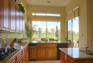 Traditional Kitchen with Simple granite counters, Simple Granite, High ceiling, Raised panel, L-shaped, Kitchen island, Flush