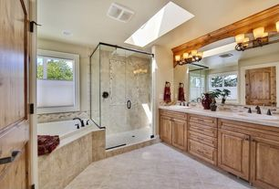 Rustic Full Bathroom with Subway Tile, Raised panel, Golden Lighting Brookfield 3 Light Bath Vanity Light, Master bathroom