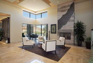 Modern Living Room with Glass panel door, High ceiling